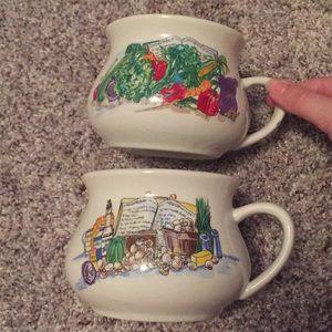 Other - Set of 2 Vintage Mushroom and Vegetable Soup Mugs